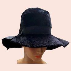 Wide Floppy Brim Black Hat Brushed Italian Felt Fur Fabulous