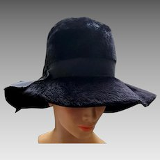 9e2f1883917 Wide Floppy Brim Black Hat Brushed Italian Felt Fur Fabulous