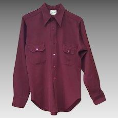 1940s Men's Gabardine L/S Shirt Tailor Finished Details Size Medium