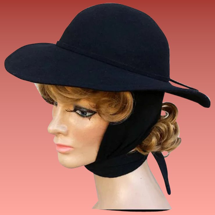 Women s Hat Fedora Style with Attached Wrap Scarf Black Wool ... 39178e27320