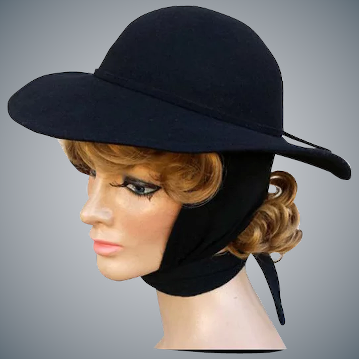 73a98e92bb6 Women's Hat Fedora Style with Attached Wrap Scarf Black Wool ...