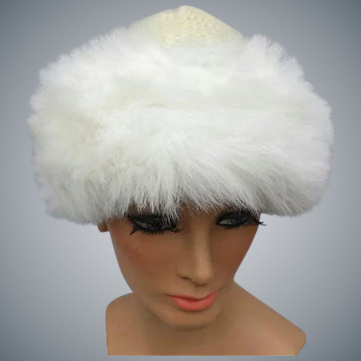 61403caaa2189 Women s Hat White Faux Fur Trim on Knit One Size   Toinette s ...