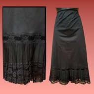 1950s Black Half Slip Illusion Accordion Lace Size Large