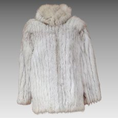 Blue Saga Fox Fur Coat Size Small - Medium 8 - 10 Finland