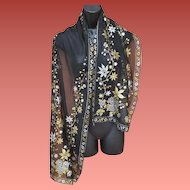 Rare Evening Shawl Bemberg Rayon Silver and Gold on Black