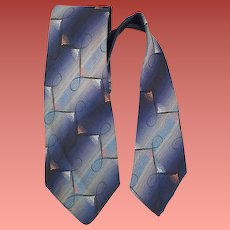 1930s - 1940s Men's Necktie Woven Blue Damask Depression Era