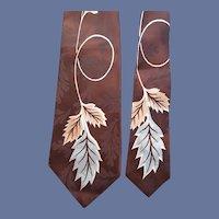 1950's MCM Wide Necktie Men's Wide Jacquard Fabric
