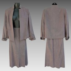 1950s Women's Tweed Suit Gorgeous Fabric Size Large