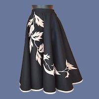 1950s Circle Skirt Applique Pink Velvet Size Small