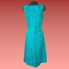 1960s Cocktail Dress Iridescent Blue Green Brocade Size Large / L