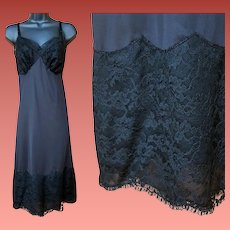 Vintage Full Length Slip Black Lacy Lace Size Extra Large Bust 38
