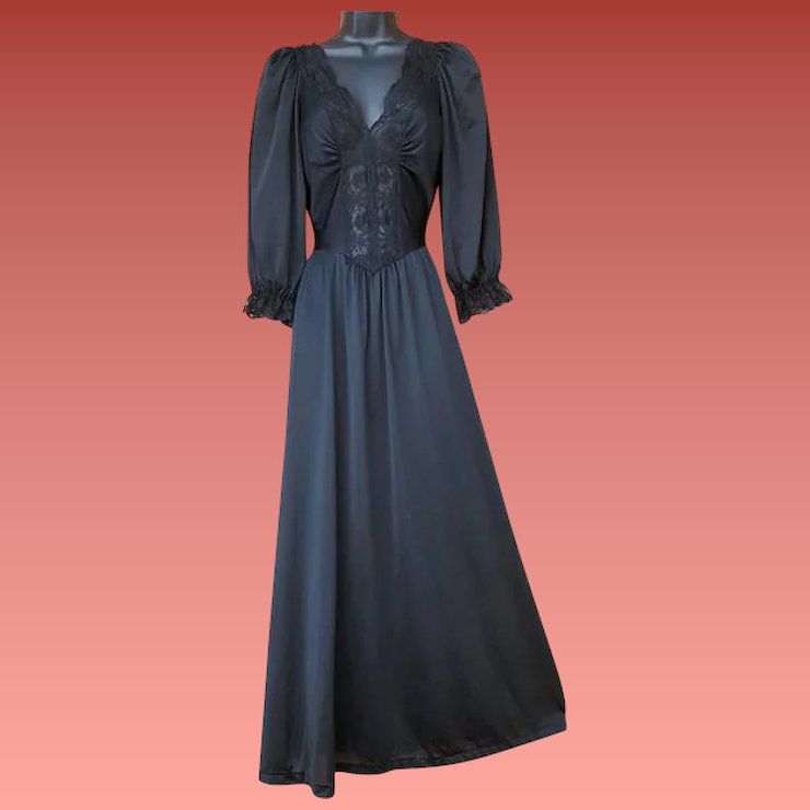 Vintage Black Olga Nightgown with Sleeves Size Large Modest Lingerie ...