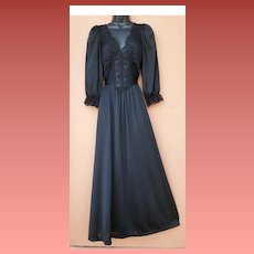 Vintage Black Olga Nightgown with Sleeves Size Large Modest Lingerie