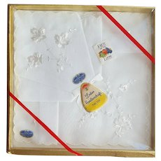 Two White on White Cotton Handkerchiefs MIP Embroidered Hankies Hanky
