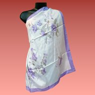 Gorgeous Silk Scarf Lavender Flowers Hand Printed Mint