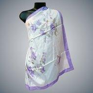 Large Unworn Silk Scarf Purple Lavender White