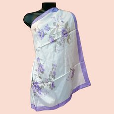 Large Unworn Silk Scarf Purple Lavender White