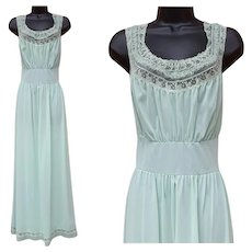 1940s Grecian Style Nightgown Pastel Lacy Bodice Size Large - Red Tag Sale Item