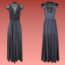 Black Olga Nightgown Lace Medallions Size Medium M
