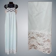 Vintage Nightgown Baby Blue with Lovely Lace Size Small - Medium