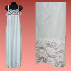 Vintage Nightgown Baby Blue Nylon with Lovely Lace Size Small - Medium