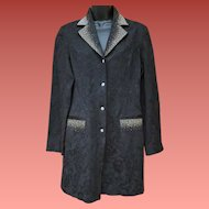 Long Evening Jacket Rhinestone Studded Black Brocade Medium Christine Alexander