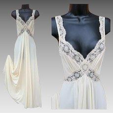 Vintage Olga Nightgown Body Silk Creamy White Size Small S
