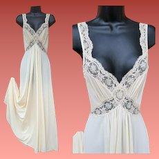 Vintage Olga Nightgown Body Silk Deepest Turquoise Size