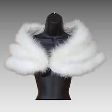 Vintage White Marabou Feather Cape Shawl Medium