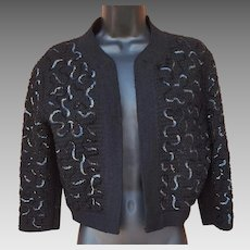 1950s Bolero Sweater Sequin Embellished Size S - M