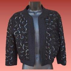 1950s Bolero Sweater Sequin Embellished Size S - M