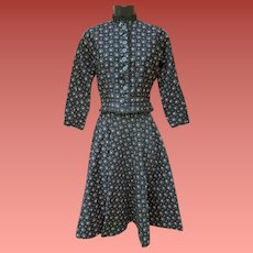 1950s Cotton Suit Fitted Jacket Flared Skirt Victorian Style Size Small