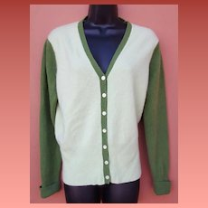 Cashmere Sweater Super Soft Two Tone Green Extra Large
