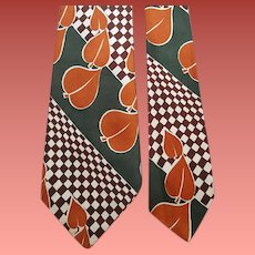 1940s Men's Rayon Necktie Bold Print Fab Colors