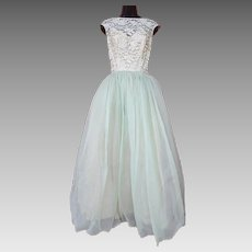 1950s Evening Gown Prom Dress Party Floor Length Size Small - Medium