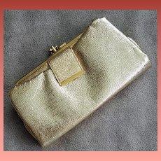 1960s Vintage Gold Lame' Cocktail Clutch Purse / Wallet