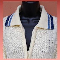Men's Vintage Sweater Zip Front Mr. Rogers Style Size Medium