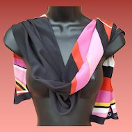 Anne Klein Silk Scarf Long Rectangle Black Pink Red