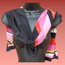 Anne Klein Silk Scarf Long Rectangle Black Pink Red