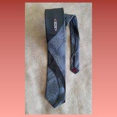 1960s Skinny Necktie Abstract Design Black Gray Damask
