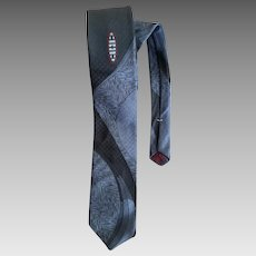 1960s Skinny Necktie Abstract Design Black Gray Damask