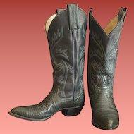 Vintage Women's Cowboy Boots Green Lizard 1970s Size 6 B