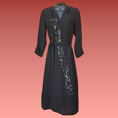 1940s Cocktail Dress Black Rayon with Sequins Medium