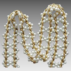 1960s Faux Pearl Belt Faux Pearl with Aluminum Chain