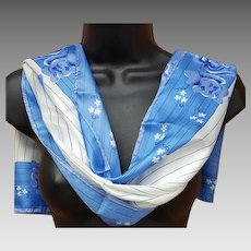 Vintage Vera Neumann Scarf Long 1970s Blue White Japan