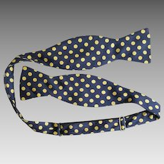 Gentleman's Silk Bow Tie Necktie Navy Yellow Polka Dots