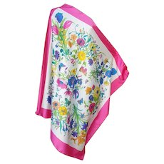 Large Italian Scarf Butterflies Flowers for Spring Summer