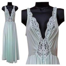 Aqua Blue Olga Nightgown Size Large Luscious Lace