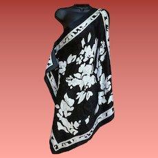 Black and White Damask Scarf Extra Large Extra Lovely
