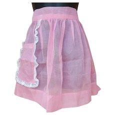Vintage Pink Cotton Batiste Apron 1960s Lace Trim S M L